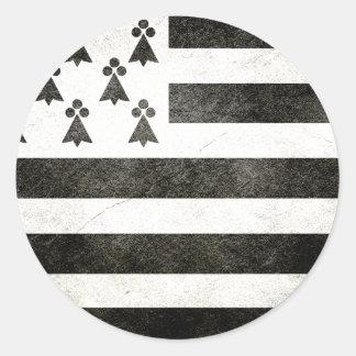 Flag Brittany Vintage Round Sticker