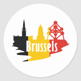 Flag Brussels Classic Round Sticker