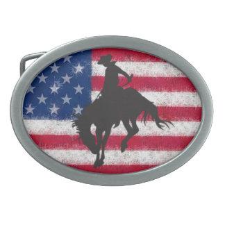 Flag Bucking Horse Belt Buckle