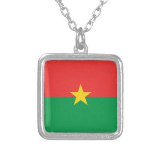 flag_burkina_farso silver plated necklace