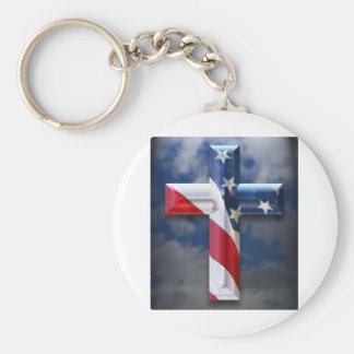 Flag Cross Basic Round Button Keychain