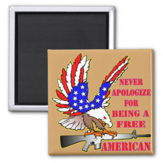 Flag Eagle Ar-15 M16 Never Apologize For Being Square Magnet