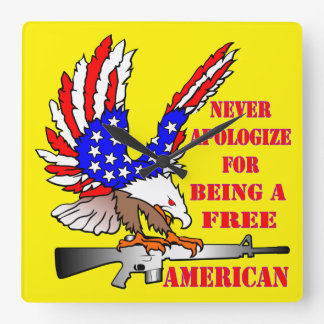 Flag Eagle Ar-15 M16 Never Apologize For Being Square Wall Clock
