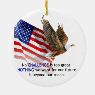 Flag & Eagle Donald J Trump Quote Round Ceramic Ornament