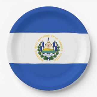 Flag: El Salvador Paper Plate