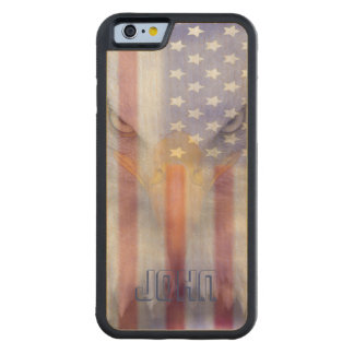 Flag | Faded Eagle | Pesonalized Carved Maple iPhone 6 Bumper Case
