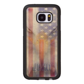 Flag | Faded Eagle | Pesonalized Wood Samsung Galaxy S7 Case