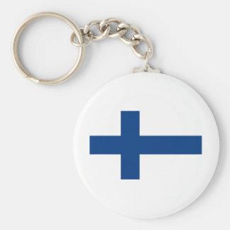 Flag Finland Basic Round Button Keychain