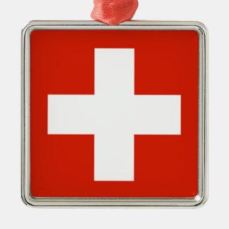 Flag - Flagge - Fahne - Switzerland - Schweiz Metal Ornament