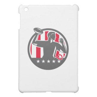 Flag Football QB Player Passing Ball Circle Retro iPad Mini Covers