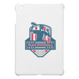 Flag Football QB Player Passing Ball Crest Retro iPad Mini Cover