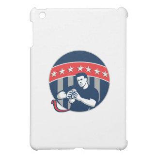 Flag Football QB Player Running Circle Retro iPad Mini Cases