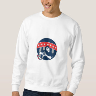 Flag Football QB Player Running Circle Retro Sweatshirt