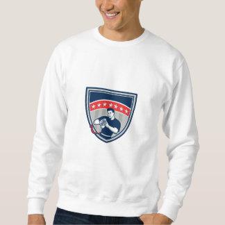 Flag Football QB Player Running Stars Crest Retro Sweatshirt