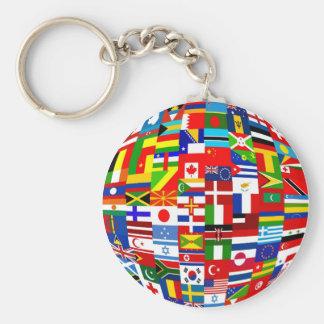 Flag Globe Basic Round Button Keychain