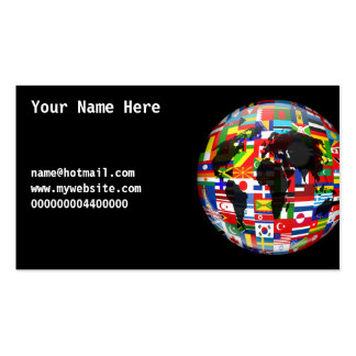 Flag Globe Your Name Here Business Card Templates