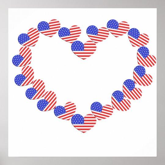 Flag Heart Poster