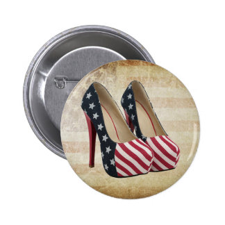 FLAG HIGH HEEL SHOES 2 INCH ROUND BUTTON