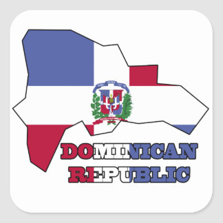 Flag in Map Dominican Republic Square Sticker