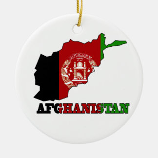 Flag in Map of Afghanistan Ceramic Ornament