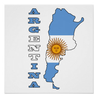 Flag in Map of Argentina Poster