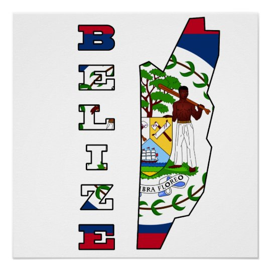 Flag in Map of Belize Poster
