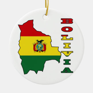 Flag in Map of Bolivia Ceramic Ornament