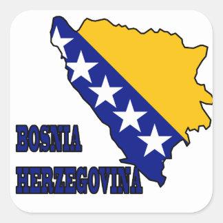 Flag in Map of Bosnia Herzegovina Square Sticker