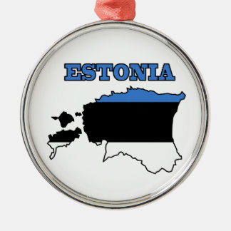 Flag in Map of Estonia Silver-Colored Round Ornament