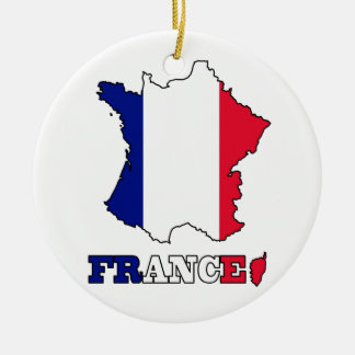 Flag in Map of France Ceramic Ornament