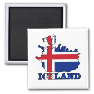 Flag in Map of Iceland Square Magnet