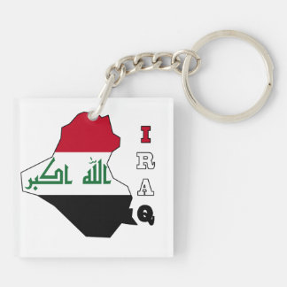 Flag in Map of Iraq Keychain
