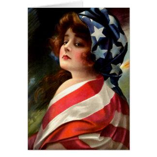Flag Lady Vintage Art 4th of July Blank Inside Card