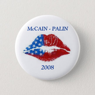 Flag Lipstick Kiss, McCAIN - PALIN, 2008 2 Inch Round Button