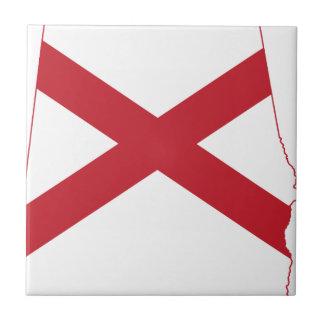 Flag Map Of Alabama Tile