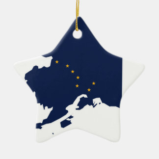 Flag Map Of Alaska Ceramic Ornament