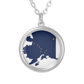 Flag Map Of Alaska Silver Plated Necklace