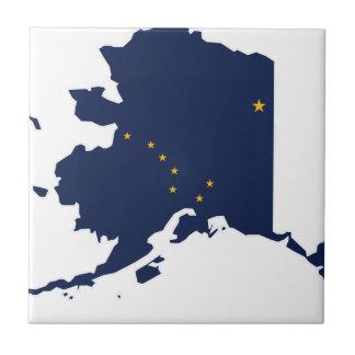 Flag Map Of Alaska Tile