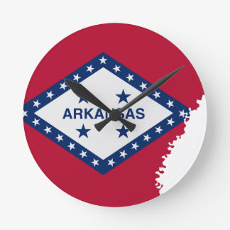 Flag Map Of Arkansas Round Clock