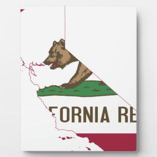 Flag Map Of California Plaque