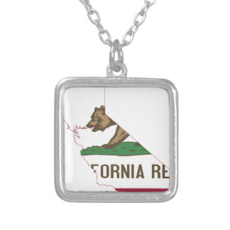 Flag Map Of California Silver Plated Necklace