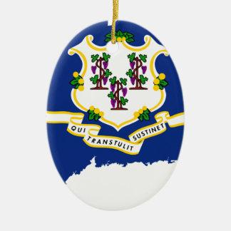 Flag Map Of Connecticut Ceramic Ornament