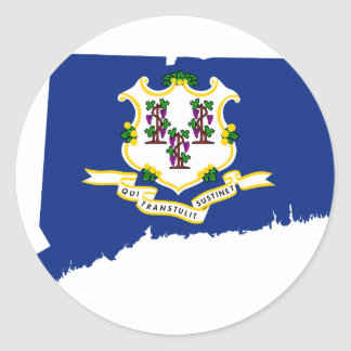 Flag Map Of Connecticut Classic Round Sticker
