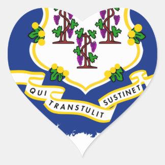 Flag Map Of Connecticut Heart Sticker