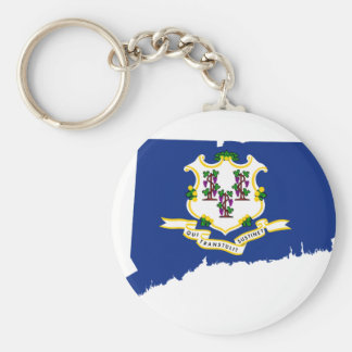 Flag Map Of Connecticut Keychain