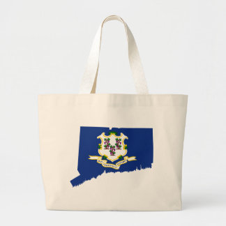 Flag Map Of Connecticut Large Tote Bag