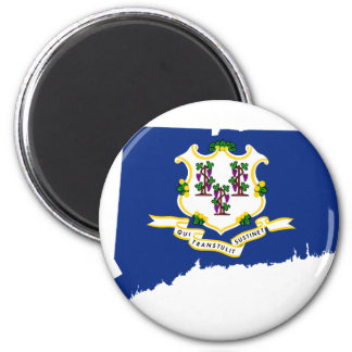 Flag Map Of Connecticut Magnet