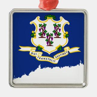 Flag Map Of Connecticut Metal Ornament