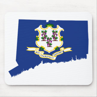 Flag Map Of Connecticut Mouse Pad