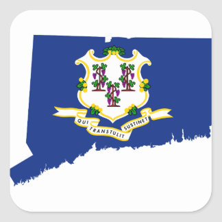 Flag Map Of Connecticut Square Sticker